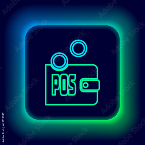 Fotografija Glowing neon line Proof of stake icon isolated on black background