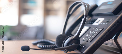 Fotografie, Obraz Communication support, call center and customer service help desk