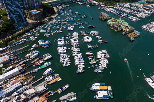 Canvas Print Drone fly over Hong Kong typhoon shelter in aberdeen