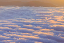 Closeup To Sea Fog At Sunrise Time With Sea Of Fog And Clouds With Mountain Hill At Sri Nan National Park Doi Samer Dao Nan Province Thailand, Asia.