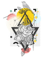 Birds And Rose Flowers. Zine Culture Concept. Hand Drawn Vector Glitch Tattoo, Contemporary  Cyberpunk Collage. Vaporwave Art. Surreal Pop Culture Style