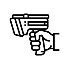 Laser Gun For Scan Rfid Line Icon Vector. Laser Gun For Scan Rfid Sign. Isolated Contour Symbol Black Illustration
