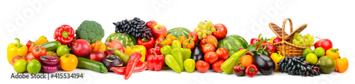 Wide panoramic photo fruits and vegetables isolated on white © Serghei Velusceac