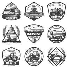 Vintage Monochrome Agricultural Machinery Labels Set