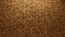 Wood Block Wall Background. Mosaic Wallpaper With Light And Dark Timber Herringbone Tile Pattern. 3D Render