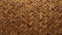 Wood Block Wall Background. Mosaic Wallpaper With Light And Dark Timber Herringbone Tile Pattern. 3D Render