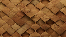 Wood Block Wall Background. Mosaic Wallpaper With Light And Dark Timber Arabesque Tile Pattern. 3D Render