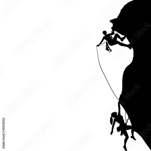 Fotografiet Man and woman climbing black silhouette, activity safety
