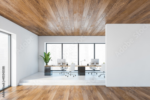 Wallpaper Mural Mockup copy space in wooden black office room with minimalist furniture and comp