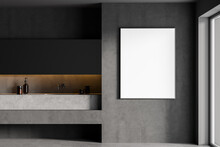 Mockup Frame In Grey Bathroom With Two Sinks And Mirrors, Marble Floor