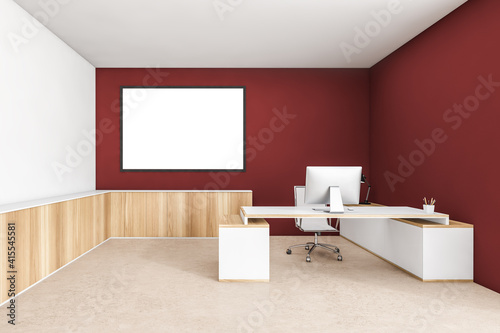 Mockup frame in wooden red office room with table and computer on beige floor Poster Mural XXL