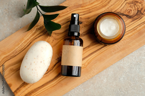 Fotografie, Tablou Set of natural organic SPA beauty products on wooden board