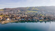 Drone picture of the city of Zug, Switzerland.