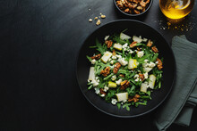 Salad With Blue Cheese, Arugula And Nuts