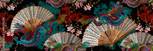 Fototapeta Asian dragons, japan fan and sakura flowers. Oriental art. Fashion japanese and chinese style. Template for clothes. Ethnic horizontal seamless pattern obraz