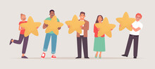 Clients Are Evaluating A Service. Positive User Satisfaction Rating. People Are Holding Stars In Their Hands. Consumer Product Review. Feedback