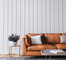 Mockup Wall In Living Room Interior Background, Farmhouse Style, 3d Render