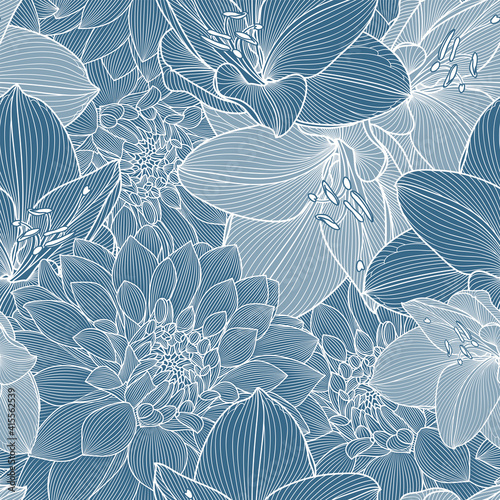 Seamless pattern with blue flowers of dahlias and amaryllis Fototapet
