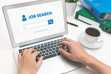 Job Search Website On Laptop. Find A Job
