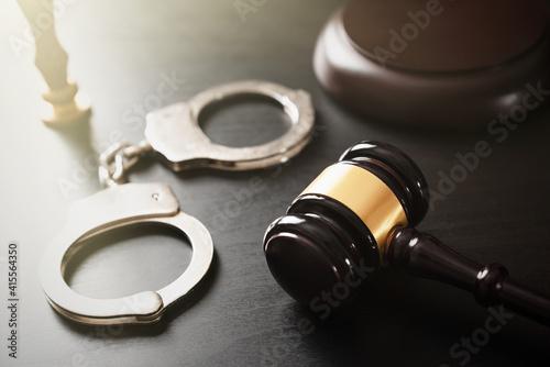 Fotografía Crime and violence concept with handcuffs