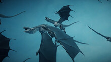 3d Rendered Illustration Of Flying Wyvern Dragons In Air. High Quality 3d Illustration