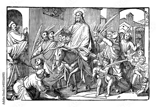 Jesus come on donkey to Jerusalem triumphal as king welcomed by crowd Wallpaper Mural