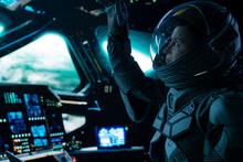 Portrait Of Caucasian Male Astronaut Inside Spaceship Cockpit. Sci-fi Space Exploration Concept