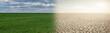 Leinwandbild Motiv Landscape with half green field and half desert. Global warming concept