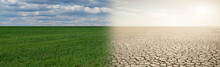 Landscape With Half Green Field And Half Desert. Global Warming Concept