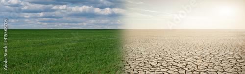 Fotografiet Landscape with half green field and half desert