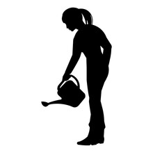Gardener Or Farmer Girl Silhouette Watering Plants From A Watering Can In The Garden