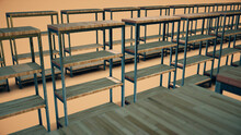 3d Rendered Illustration Of Empty Book Shelfs In A Row. High Quality 3d Illustration