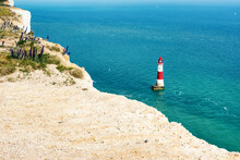View Of The Beachy Head Lighthouse Near Eastbourne, England, Seven Sisters National Park, UK, Selective Focus