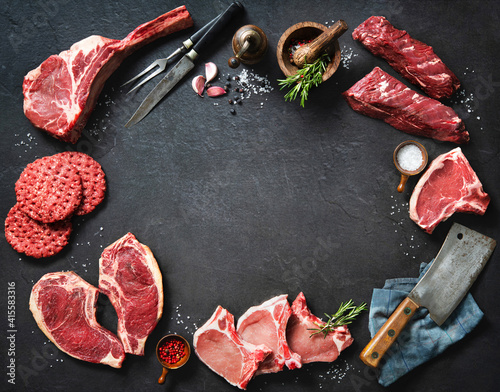 Variety of raw cuts of meat, dry aged beef steaks and hamburger patties Wallpaper Mural