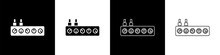 Set Sound Mixer Controller Icon Isolated On Black And White Background. Dj Equipment Slider Buttons. Mixing Console. Vector.