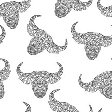 Bull Head. Hand Drawing Ornament. Vector Seamless Linear Pattern On A White Background.