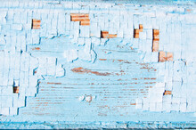 Blue And White Old Wooden Fence. Wood Background. Planks Texture, Cracked Paint