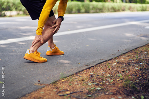 Canvas Print Achilles tendon injury in runners concept.