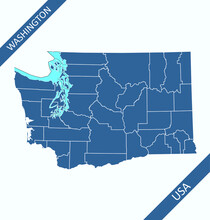 Washington Counties Map Outlines Blank