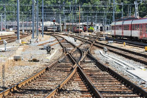 Fotografía Railway Trackwork at Brig, Switzerland