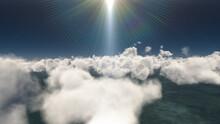 Fly Above Big Clouds, 3d Illustration Render