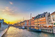 Copenhagen Denmark, Sunset City Skyline At Nyhavn Harbour With Colourful House