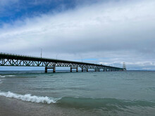 Mackinac Bridge In October From State Park In Mackinac City