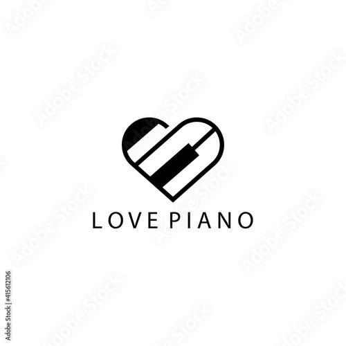 Stampa su Tela love piano logo design vector illustration