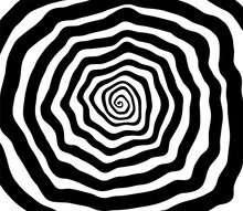 Vector Spiral. Spiral. The Concentric Circles. The Silhouette Of The Spiral. Effect, Hypnosis, The Symmetry Of The Spiral. Abstract Background, Design Element.