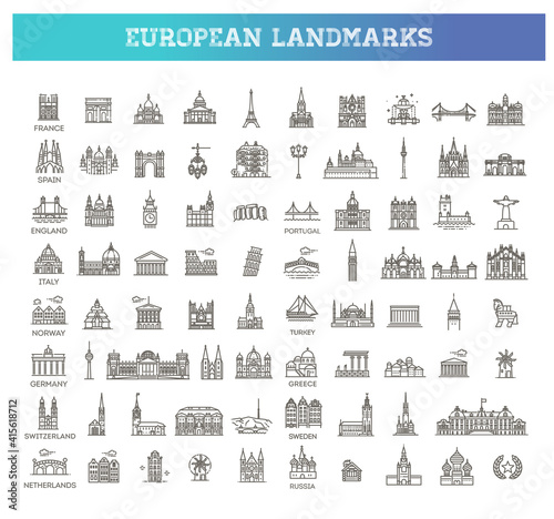 Fototapety, obrazy: Simple linear Vector icon set representing global tourist european landmarks and travel destinations for vacations