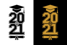 Lettering Class Of 2021 For Greeting, Invitation Card. Logo Graduation Design, Congratulation Event, T-shirt, Party, High School Or College Graduate. Vector On Transparent Background
