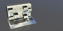 Filing Archives Cabinet On A Laptop Screen, Office Desk Background. 3d Illustration