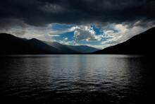 Thunderstorm Over Kootenay Lake Near Nelson In British Columbia, Canada.