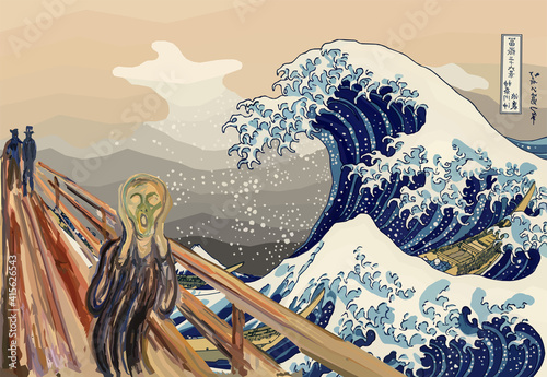 Slika na platnu The Scream for The Great Wave Off Kanagawa